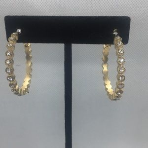 4 for $12: Gold Tone Sparkle Hoop Earrings
